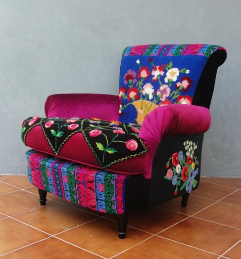 International Gallery Of The Arts Obra Design N A Embroidered Armchair Bohemian Wooden